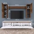 Comoda TV cu raft de perete si 2 cabinete M22 - 815, Wren, 180 x 35 x 48.6 cm/90 cm/133 cm, white/walnut
