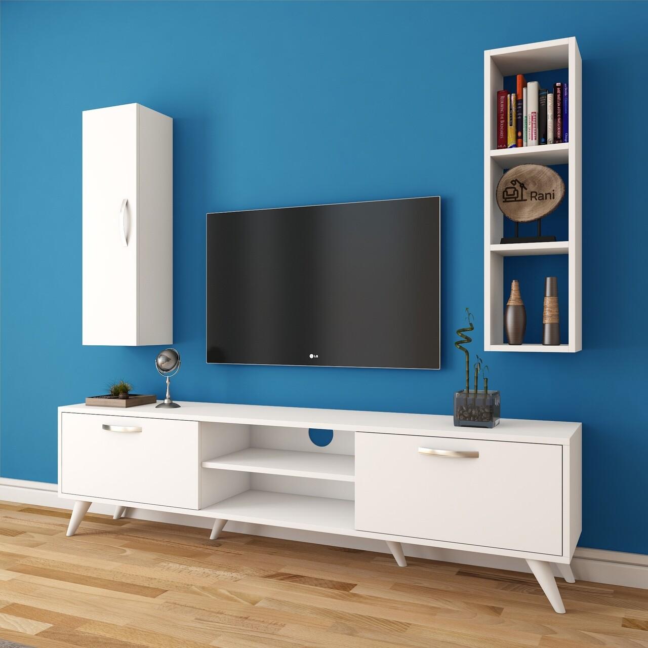 Comoda TV cu raft de perete si cabinet M14 - 257, Wren, 180 x 35 x 48.6 cm/90 cm, white