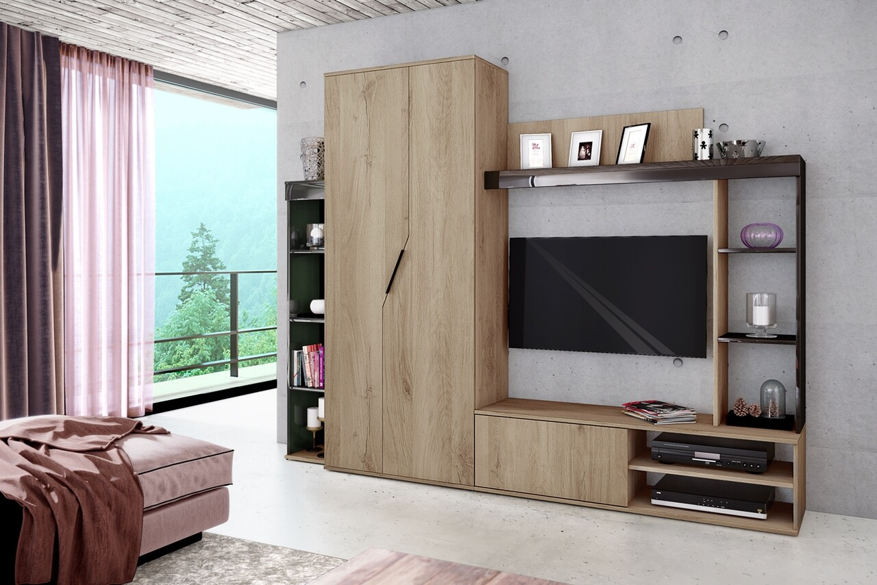 Mobilier living, Bedora, City 6039, 240 x 38.5 x 191 cm, PAL, stejar