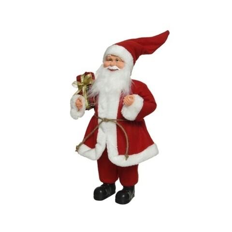 Figurina Santa basic gift, Decoris, H -30 cm, poliester, Alb/Rosu