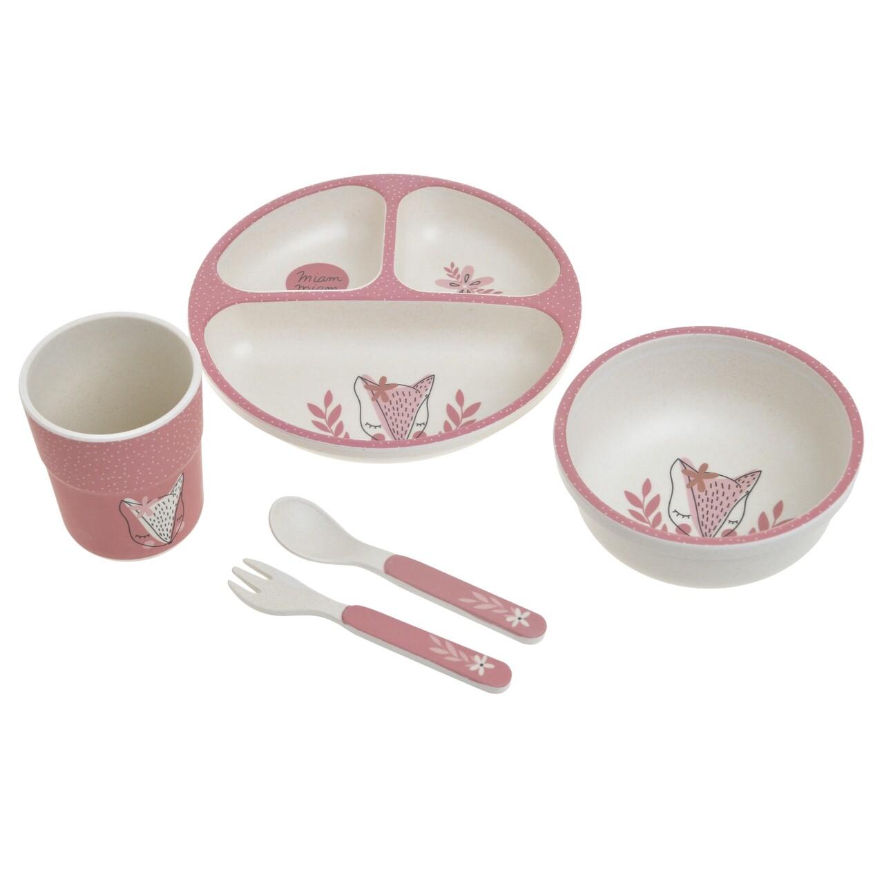 Set de masa pentru copii 5 piese Fox, InArt, fibra de bambus, roz