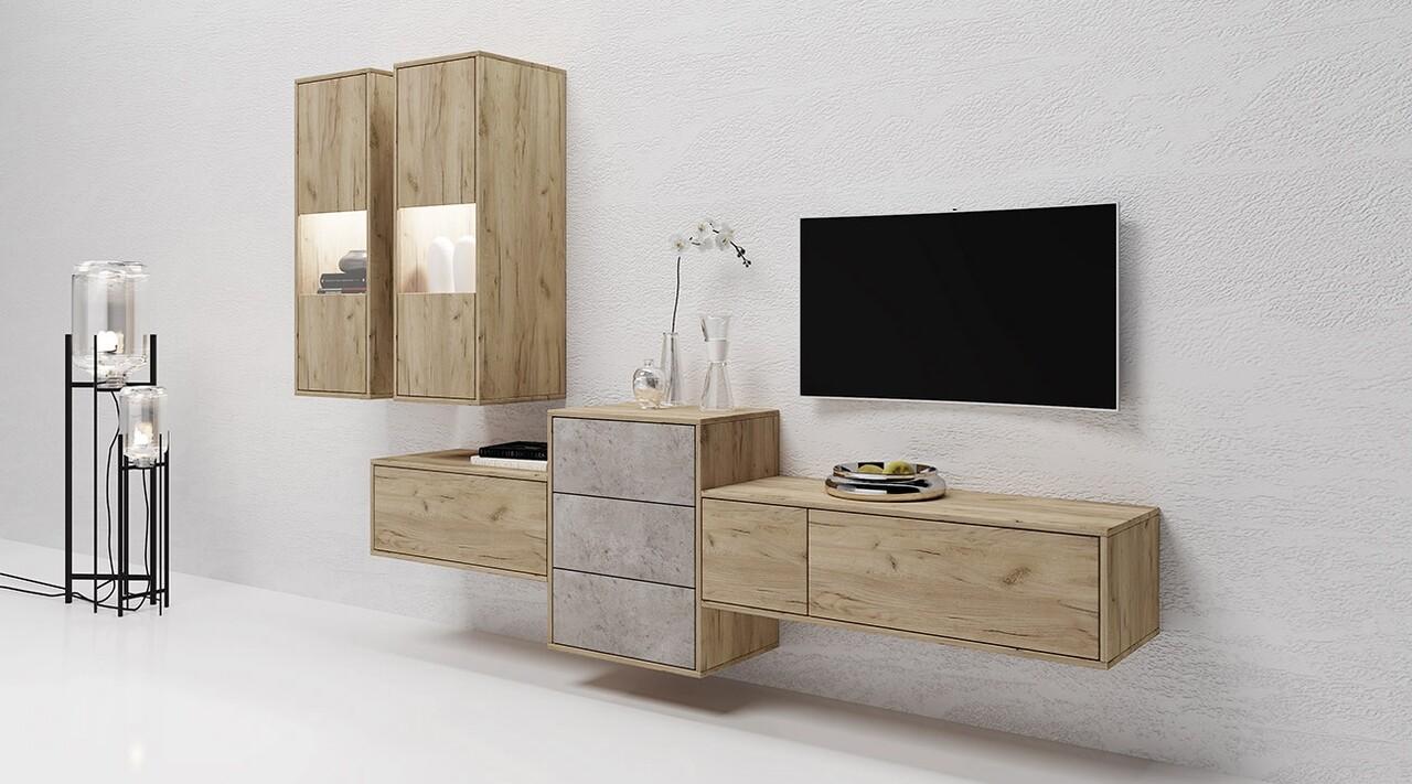 Mobilier living, Bedora, City 6031, 255 x 38.5 x 165 cm, PAL, stejar/gri