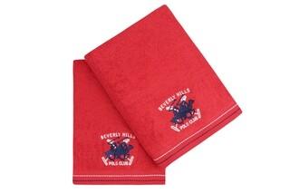 Set 2 prosoape de baie, Beverly Hills Polo Club, 401, 70x140 cm, 100% bumbac, rosu