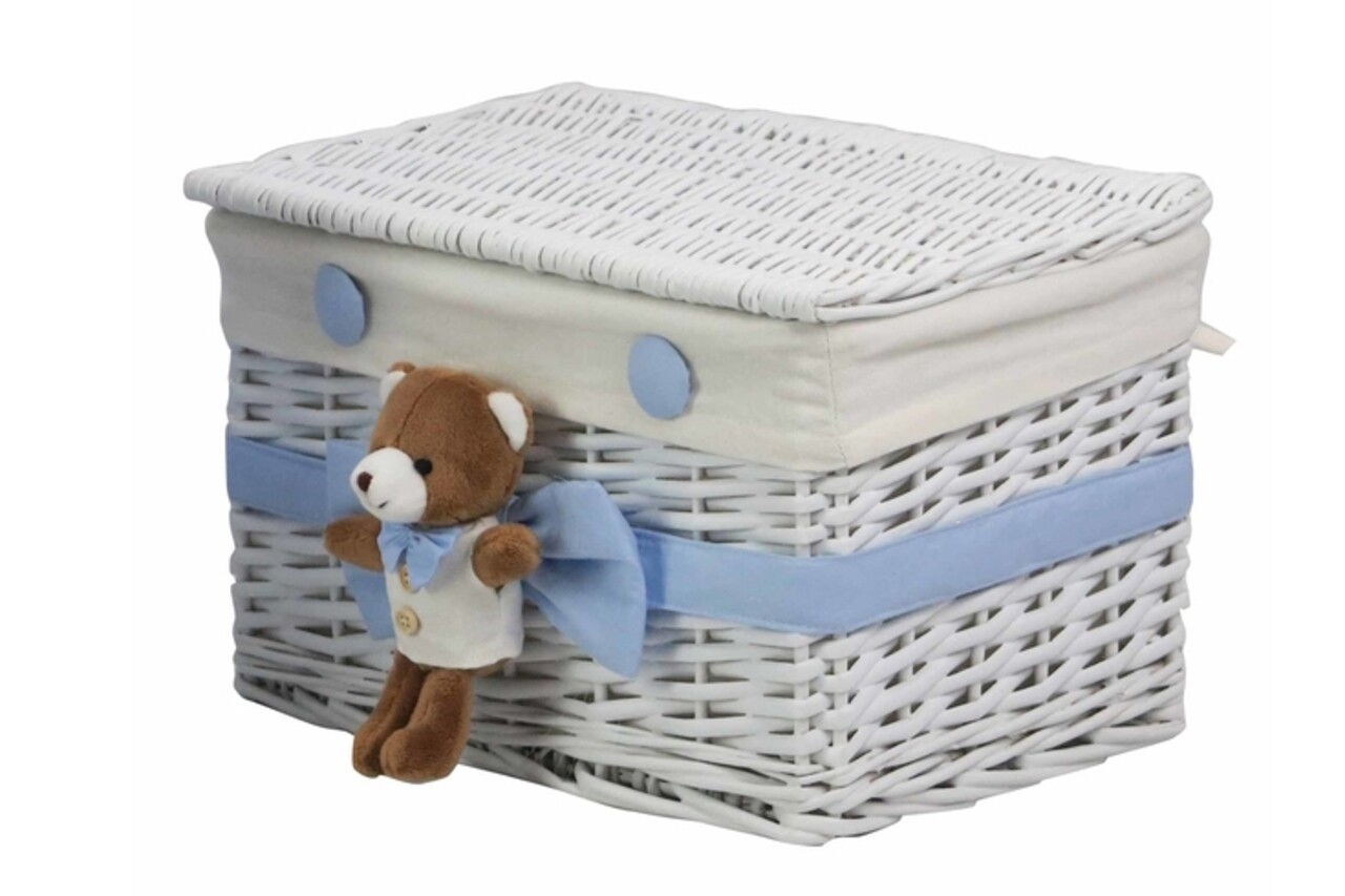 Cos S Blue Bear, Bedora, salcie/material textil, alb/bleu