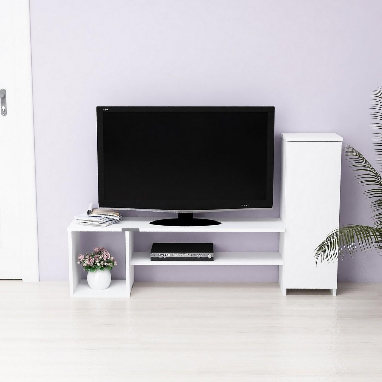 Comoda TV Grace, Maison in Design, 1 corp, 151 x 29.5 x 90 cm, PAL, alb