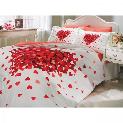 Lenjerie de pat En Vogue, pentru 2 persoane, bumbac poplin, Juana Red