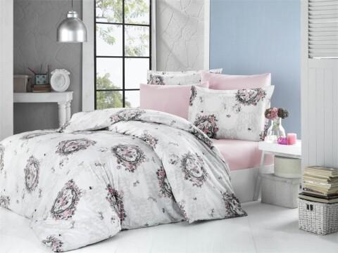 Lenjerie de pat pentru doua persoane, Supreme Bedora, 100% bumbac, 6 piese
