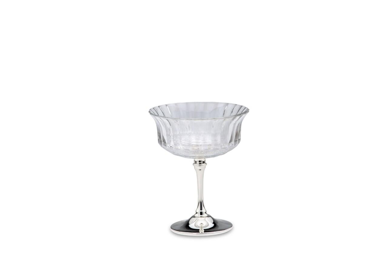 Cupa desert,  Hermann Bauer, sticla, argintiu
