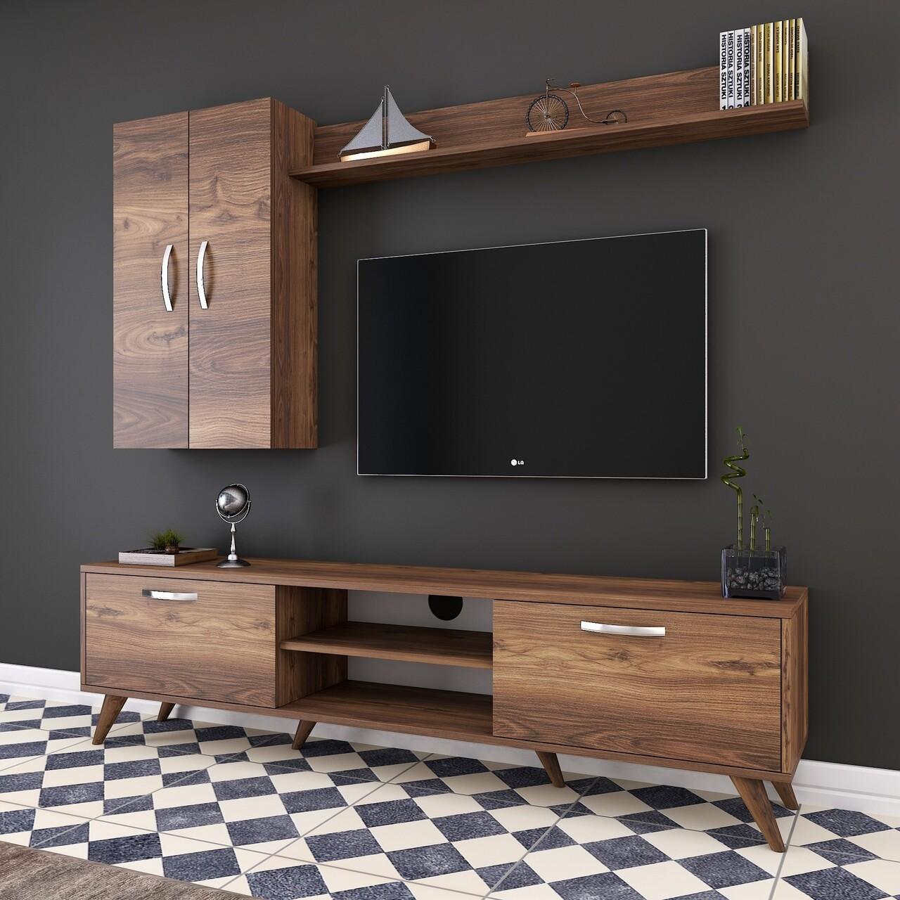 Comoda TV cu raft de perete si 2 cabinete M40 - 307, Wren, 180 x 35 x 48.6 cm/133 cm, walnut