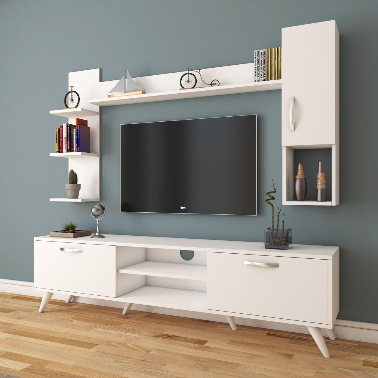 Comoda TV cu 2 rafturi de perete si cabinet M25 - 279, Wren, 180 x 35 x 48.6 cm/90 cm/133 cm, white
