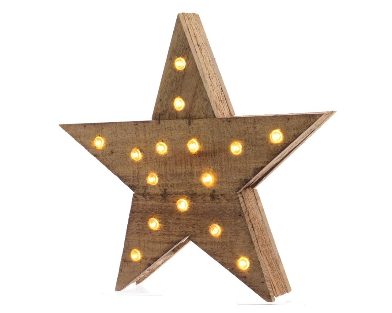 Decoratiune luminoasa Star, Lumineo, lemn
