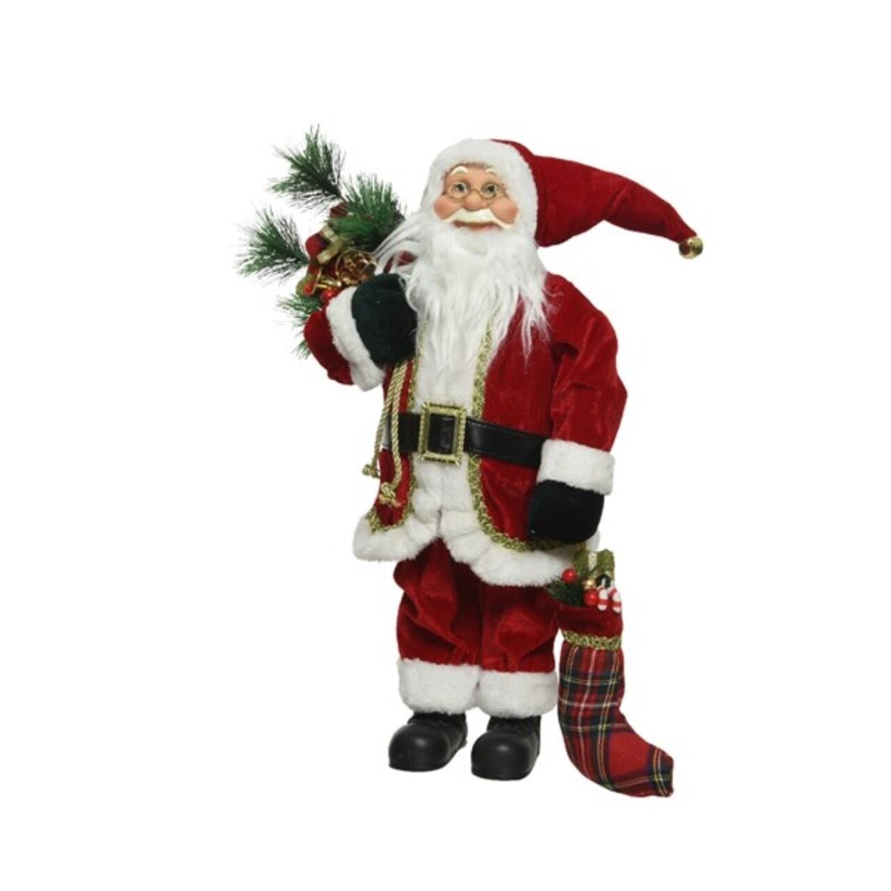 Figurina Decoris, Classic Santa, H- 30 cm, poliester, Alb/rosu