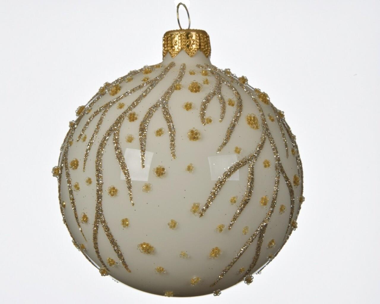 Glob, Decoris, Branch dots, Ø8 cm, sticla, alb/auriu