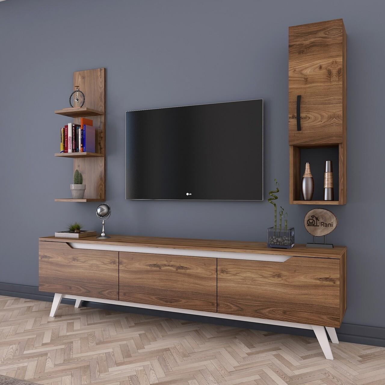 Comoda TV cu raft de perete si cabinet M3 - 825, Wren, 180 x 35 x 48.6 cm/90 cm, walnut/white