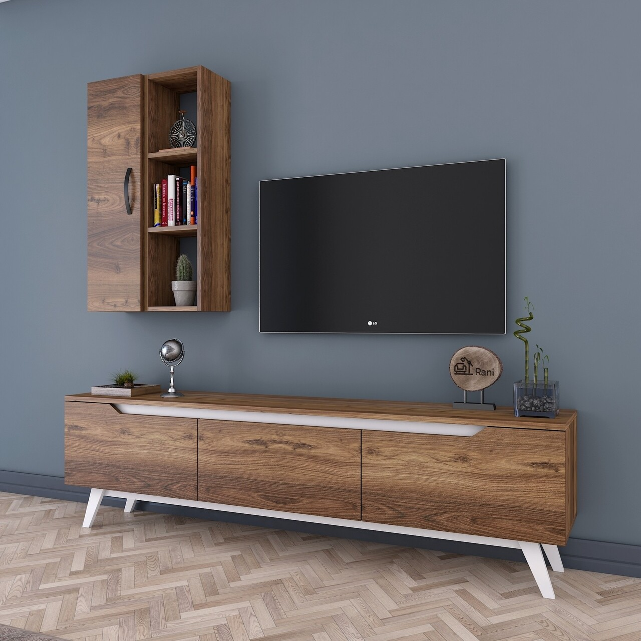 Comoda TV cu raft de perete si cabinet M37 - 848, Wren, 180 x 35 x 48.6 cm/90 cm, walnut/white