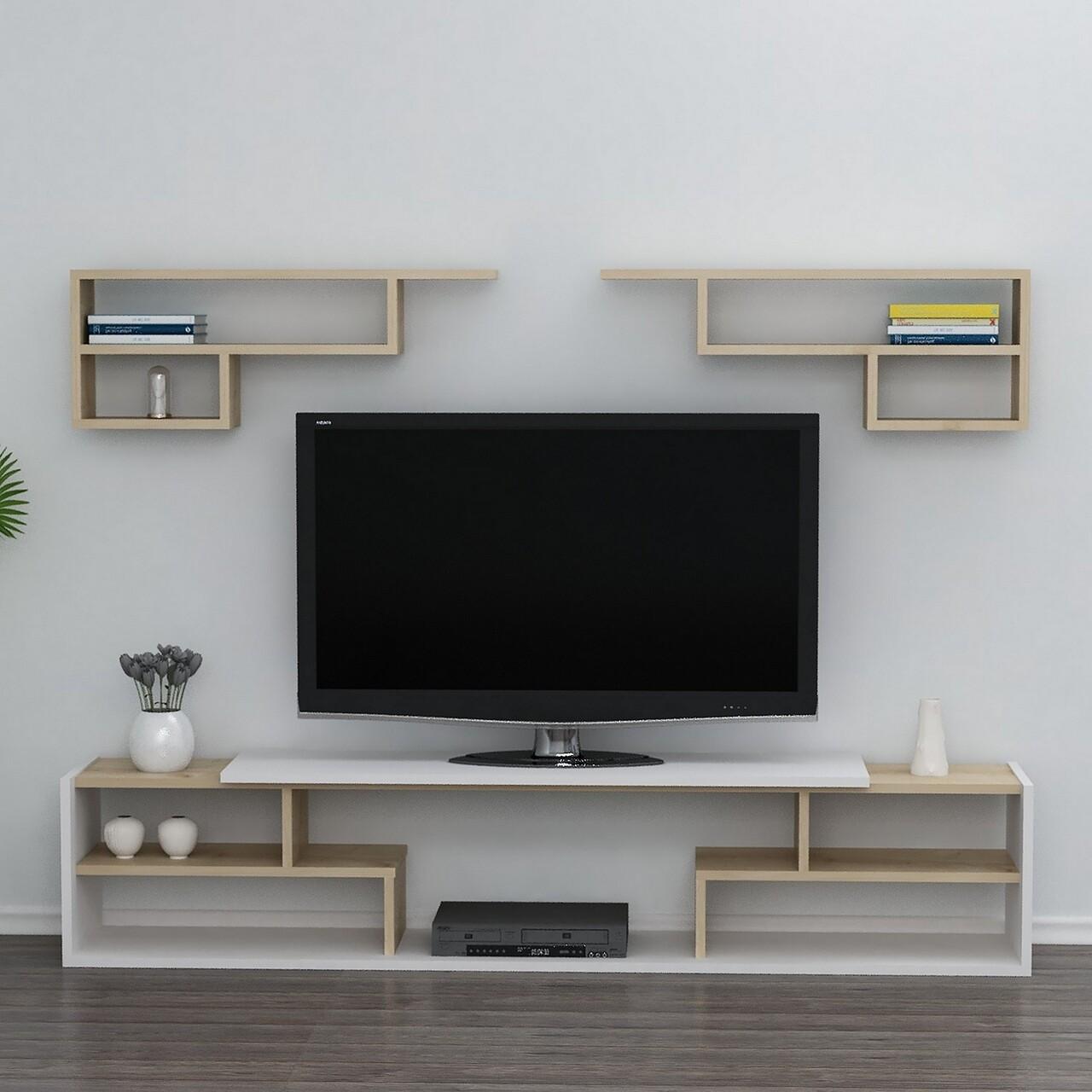 Comoda TV cu 2 rafturi de perete Only, Maison in Design, 180 x 29.5 x 36.8 cm, alb/natural/antracit
