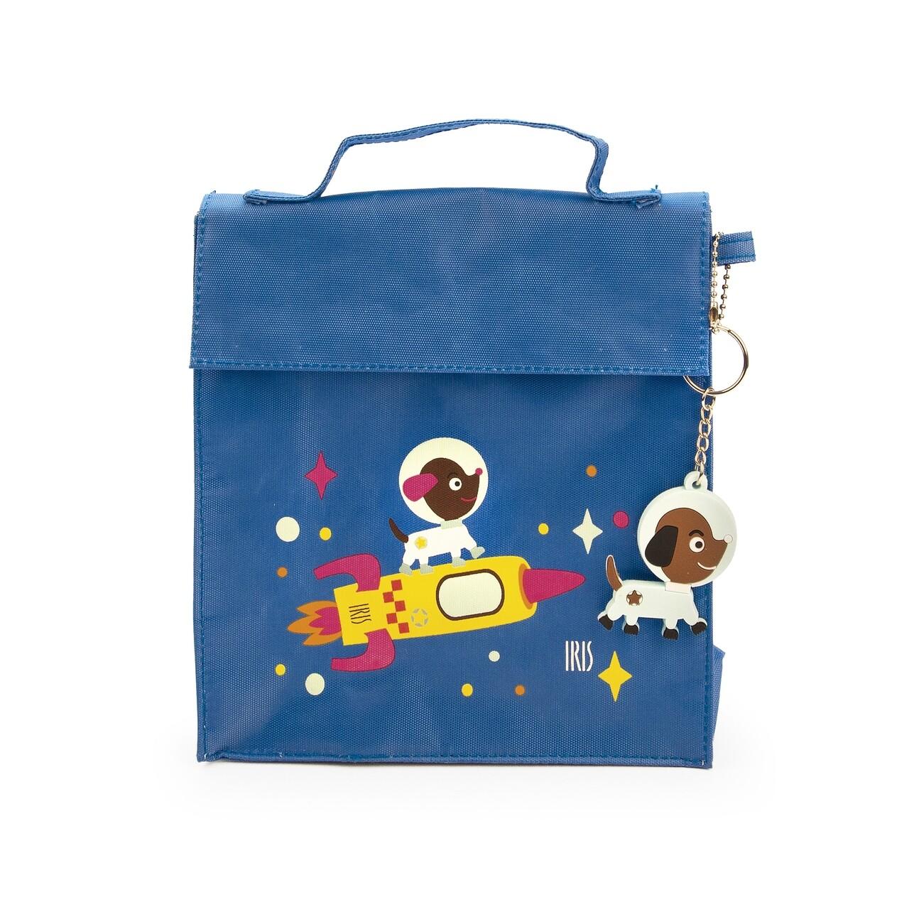 Geanta termoizolanta pentru pranz copii Kinder SnackRico, Iris Barcelona, 18x8x21 cm, poliester, albastru