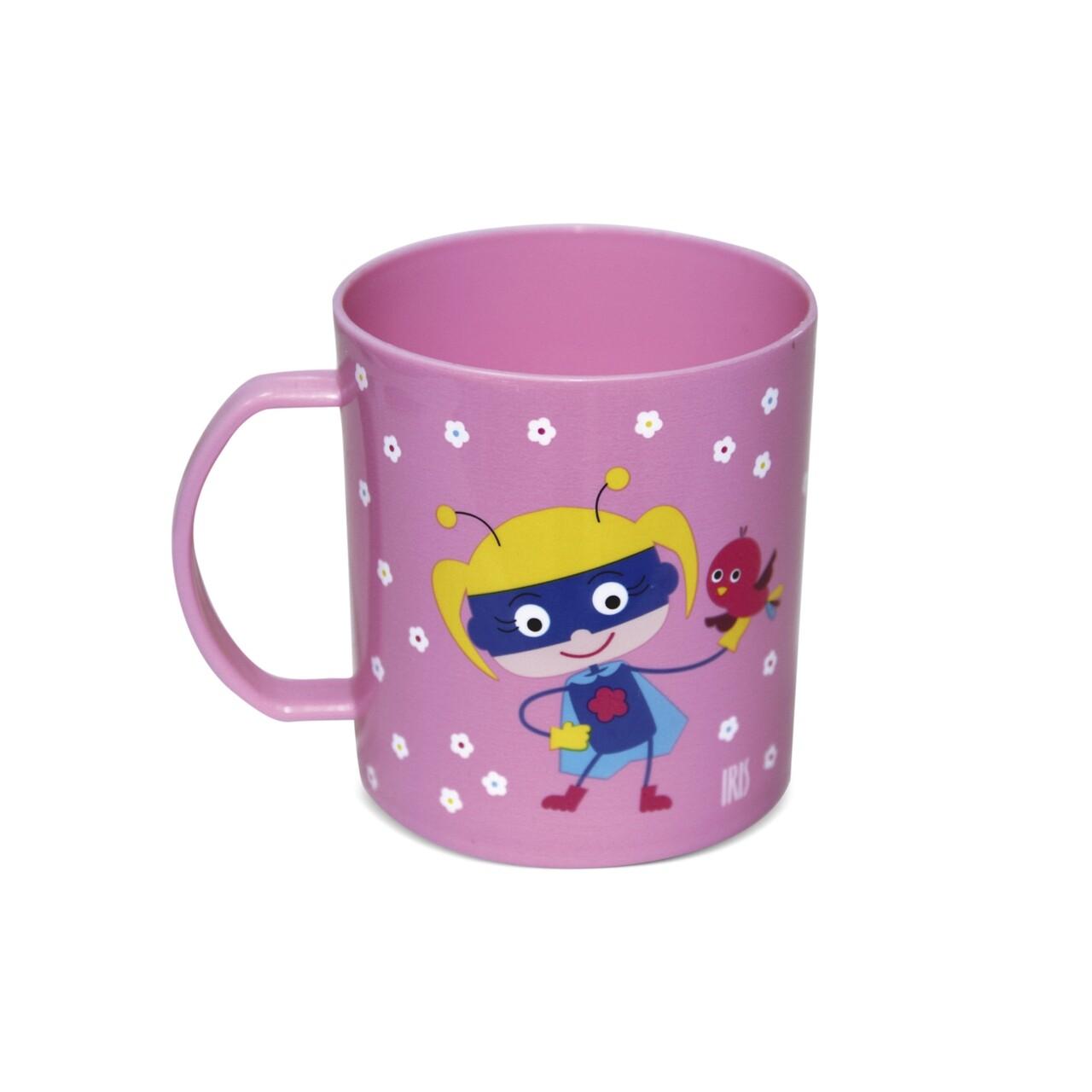 Cana pentru copii SnackRico, Iris Barcelona, Ø8x8.7 cm, 370 ml, polipropilena fara BPA, roz