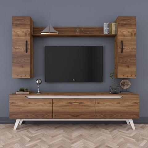 Comoda TV cu raft de perete si 2 cabinete M2 - 824, Wren, 180 x 35 x 48.6 cm/133 cm, walnut/white