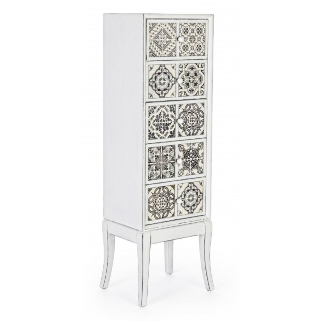 Comoda cu 5 sertare, Dimitra, Bizzotto, 40x32.5x131 cm, lemn de brad/ceramica
