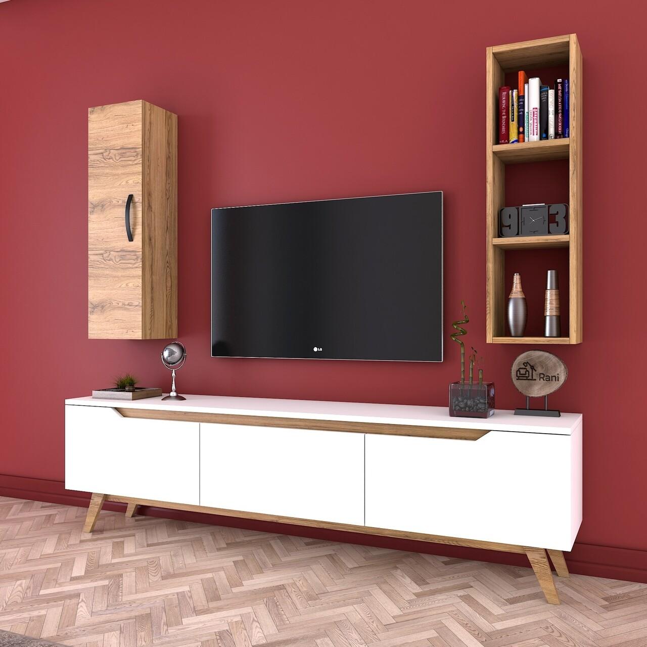 Comoda TV cu raft de perete si cabinet M14 - 412, Wren, 180 x 35 x 48.6 cm/90 cm, white/walnut