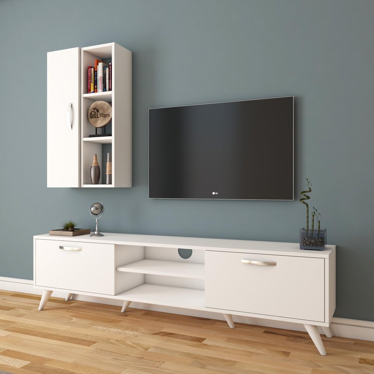 Comoda TV cu raft de perete si cabinet M37 - 301, Wren, 180 x 35 x 48.6 cm/90 cm, white