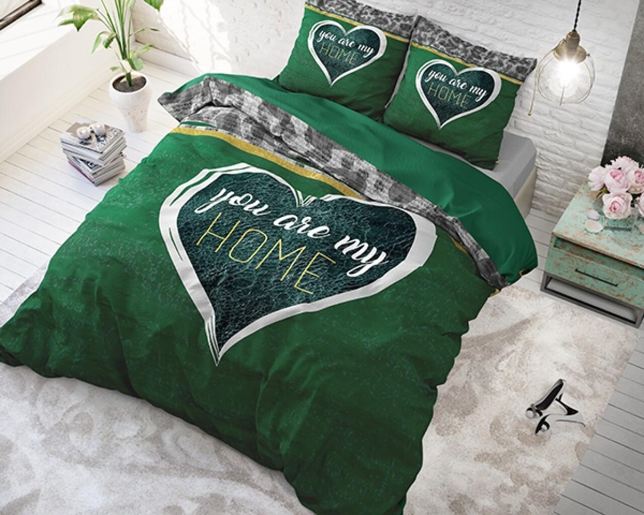Lenjerie de pat dubla Home Green, Royal Textile, 3 piese, 200 x 220 cm, 100% bumbac flanel, multicolor