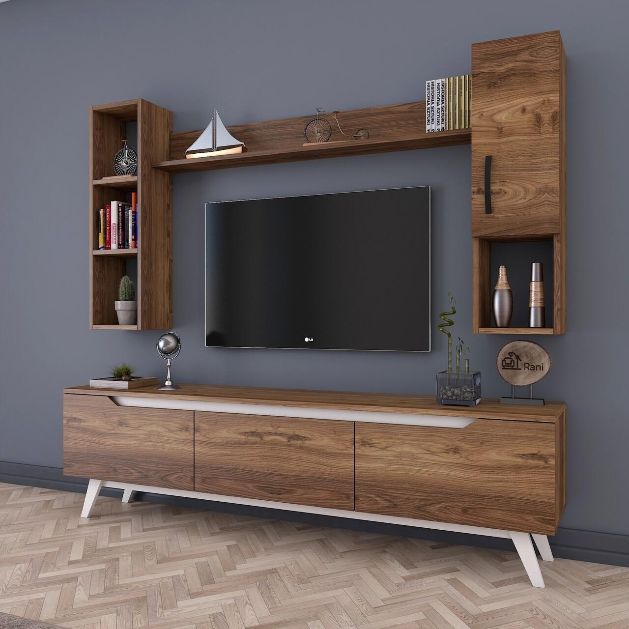 Comoda TV cu 2 rafturi de perete si cabinet M12 - 830, Wren, 180 x 35 x 48.6 cm/90 cm/133 cm, walnut/white