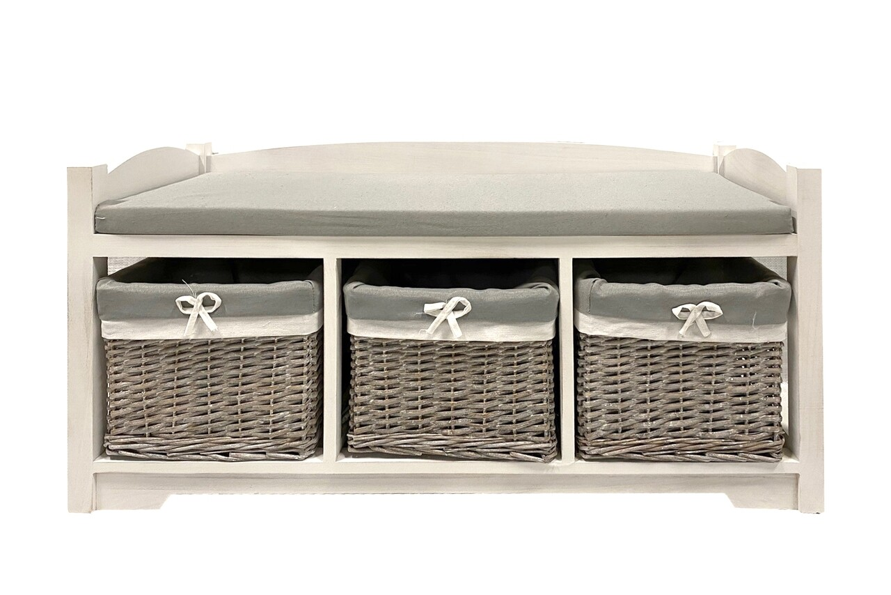 Bancheta cu 3 cosuri Grey Bedora, 103x36x52 cm, MDF/lemn