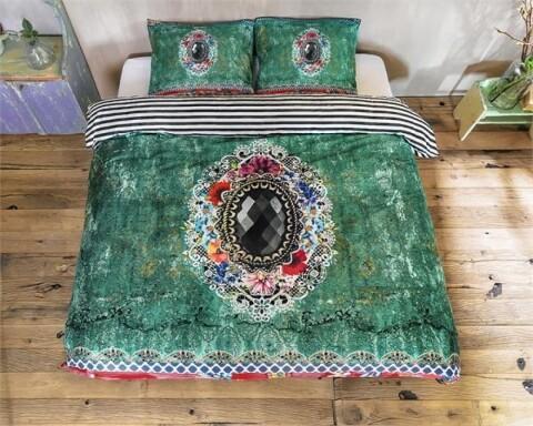 Lenjerie de pat pentru doua persoane Zelia Green, Melli Mello,100% bumbac satinat