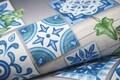 Covor pentru bucatarie, Olivio Tappeti, Miami 3, Blue Flowers, 40 x 60 cm, poliester, multicolor