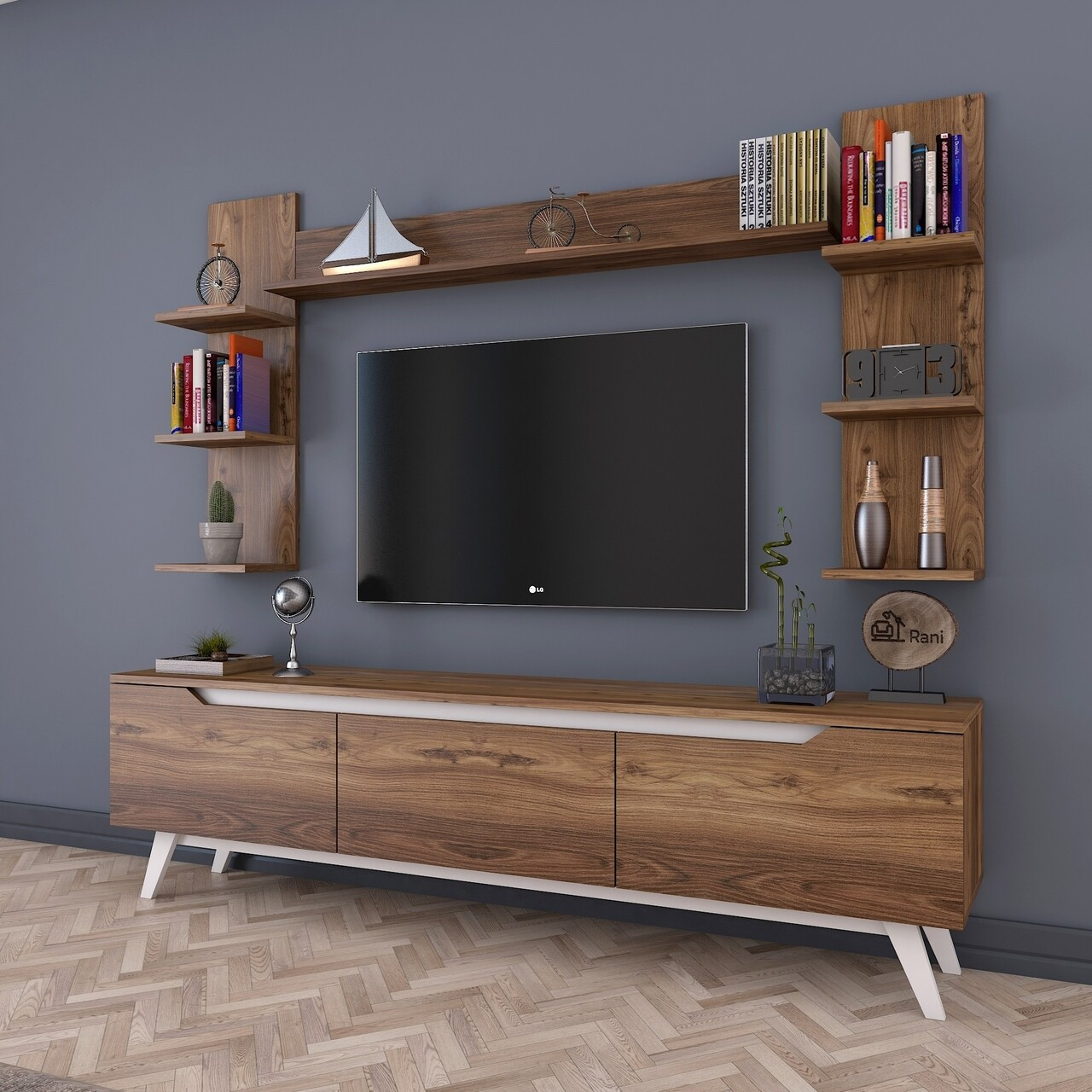 Comoda TV cu 3 rafturi de perete M23 - 832, Wren, 180 x 35 x 48.6 cm/90 cm/133 cm, walnut/white