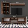 Comoda TV cu 2 rafturi de perete si cabinet M45 - 317, Wren, 180 x 35 x 48.6 cm/90 cm/133 cm, walnut