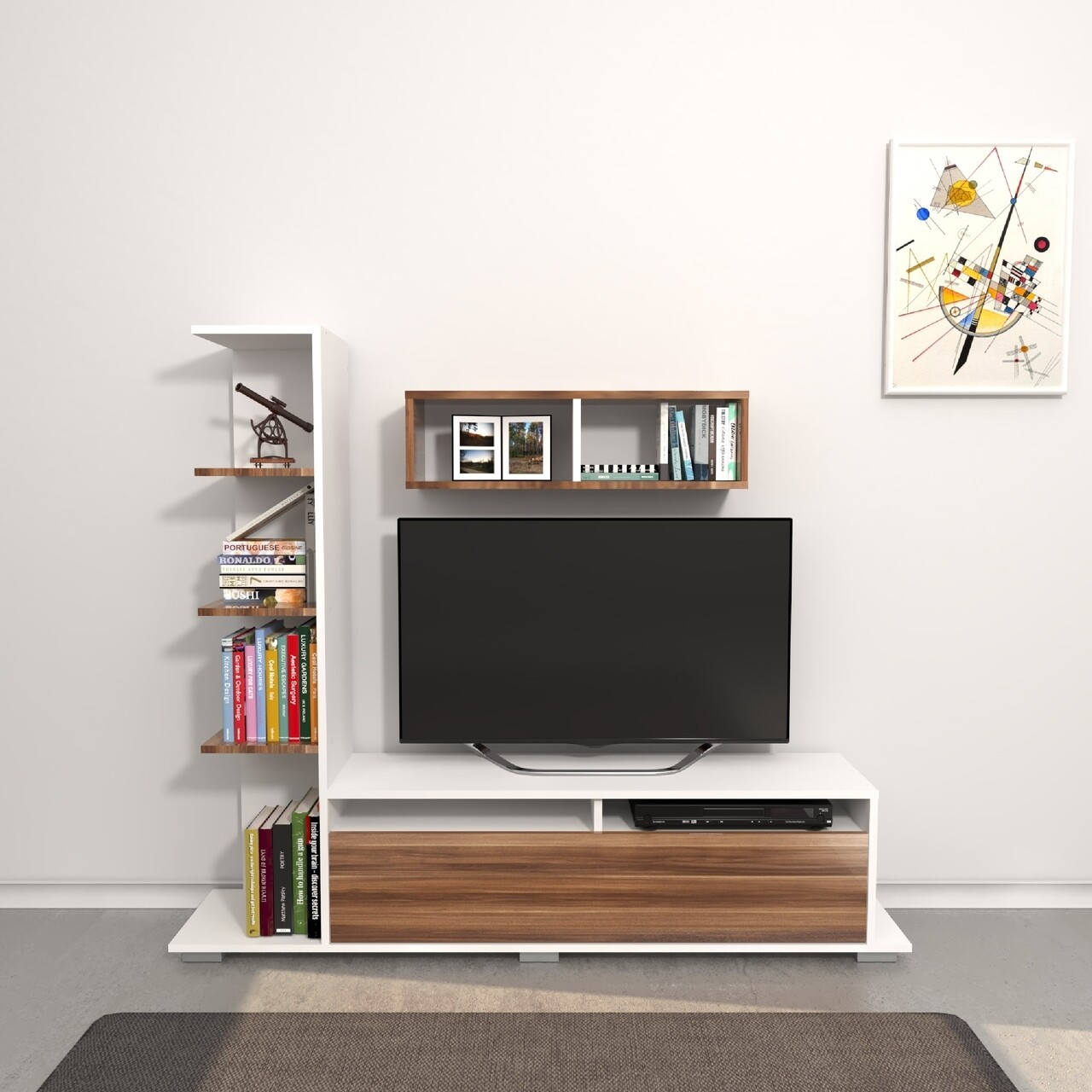 Comoda TV cu raft de perete Argo, Homemania, 150 x 28.5 x 125 cm, alb/natural