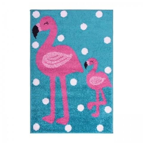 Covor Play Days Flamingo Pink/Blue, 100% poliester, 80x120 cm, multicolor