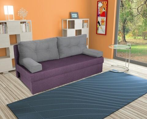 Canapea extensibila Alfi 192x80x77 cm cu lada de depozitare, Purple/Light Grey