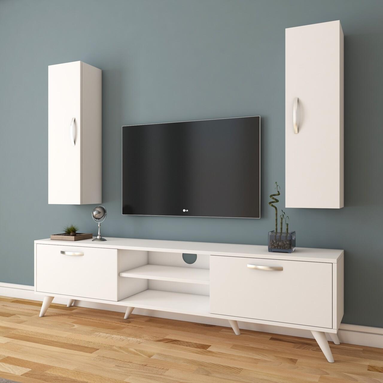 Comoda TV cu 2 cabinete M17 - 263, Wren, 180 x 35 x 48.6 cm/90 cm, white