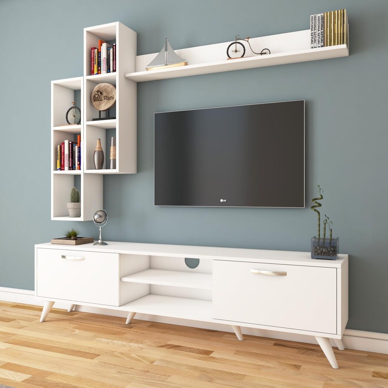 Comoda TV cu 3 rafturi de perete M16 - 261, Wren, 180 x 35 x 48.6 cm/90 cm/133 cm, white