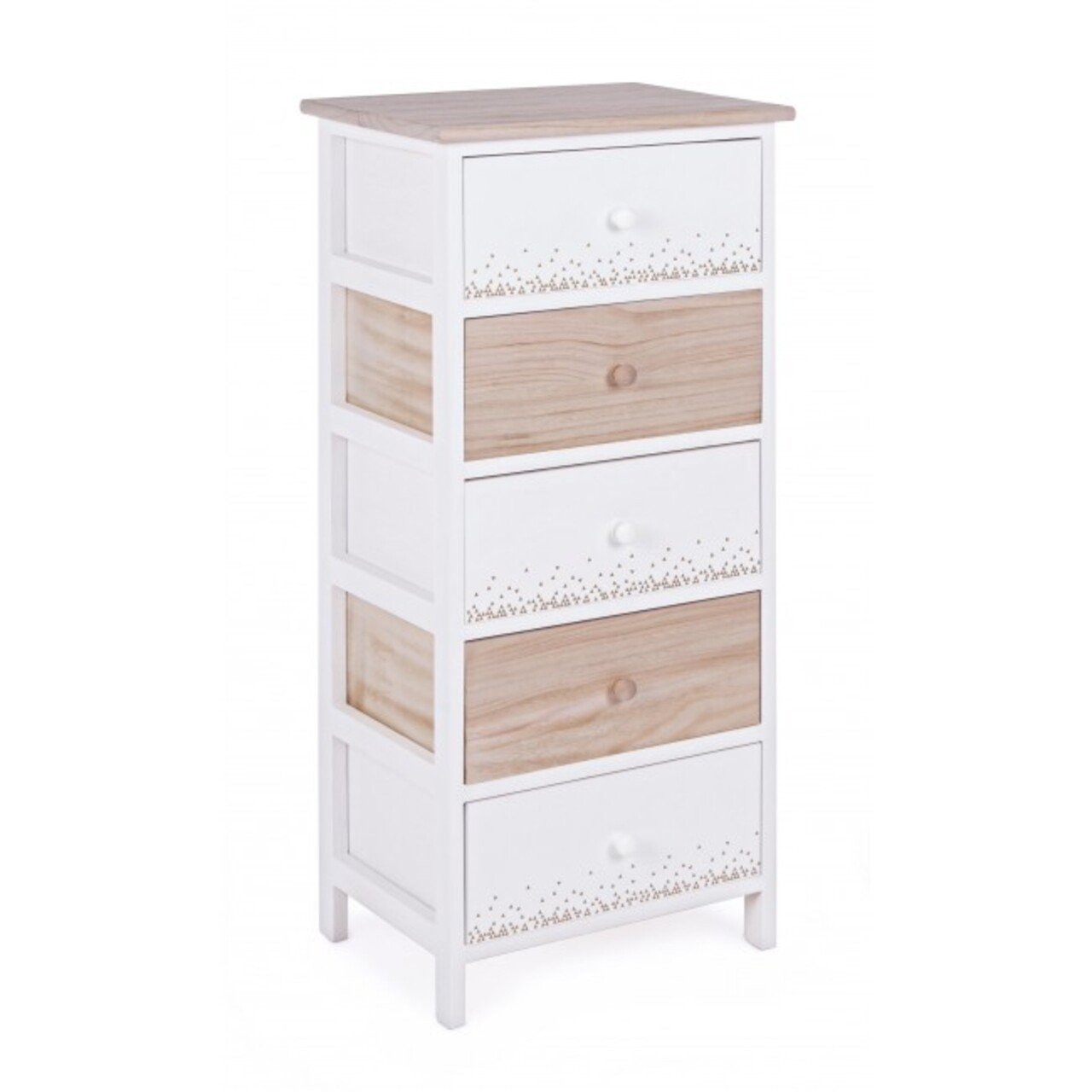 Comoda cu 5 sertare, Ally, Bizzotto, 40x29x90 cm, lemn de paulownia, alb/natural
