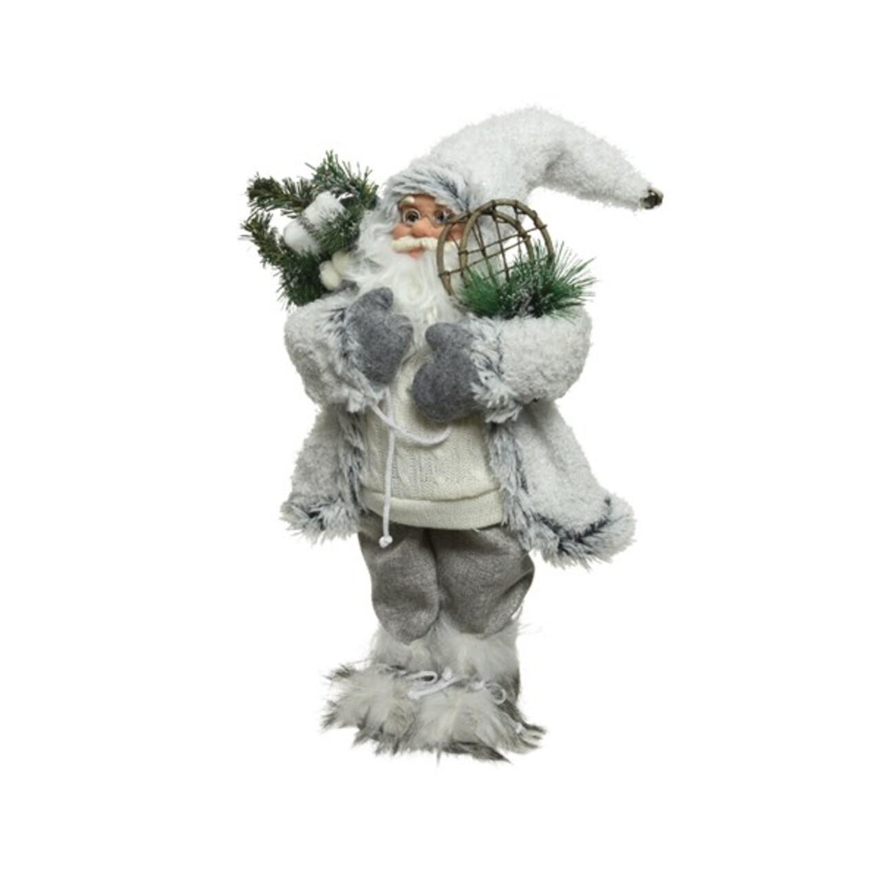 Decoratiune Santa w snow shoes, Decoris, H60 cm, poliester, alb