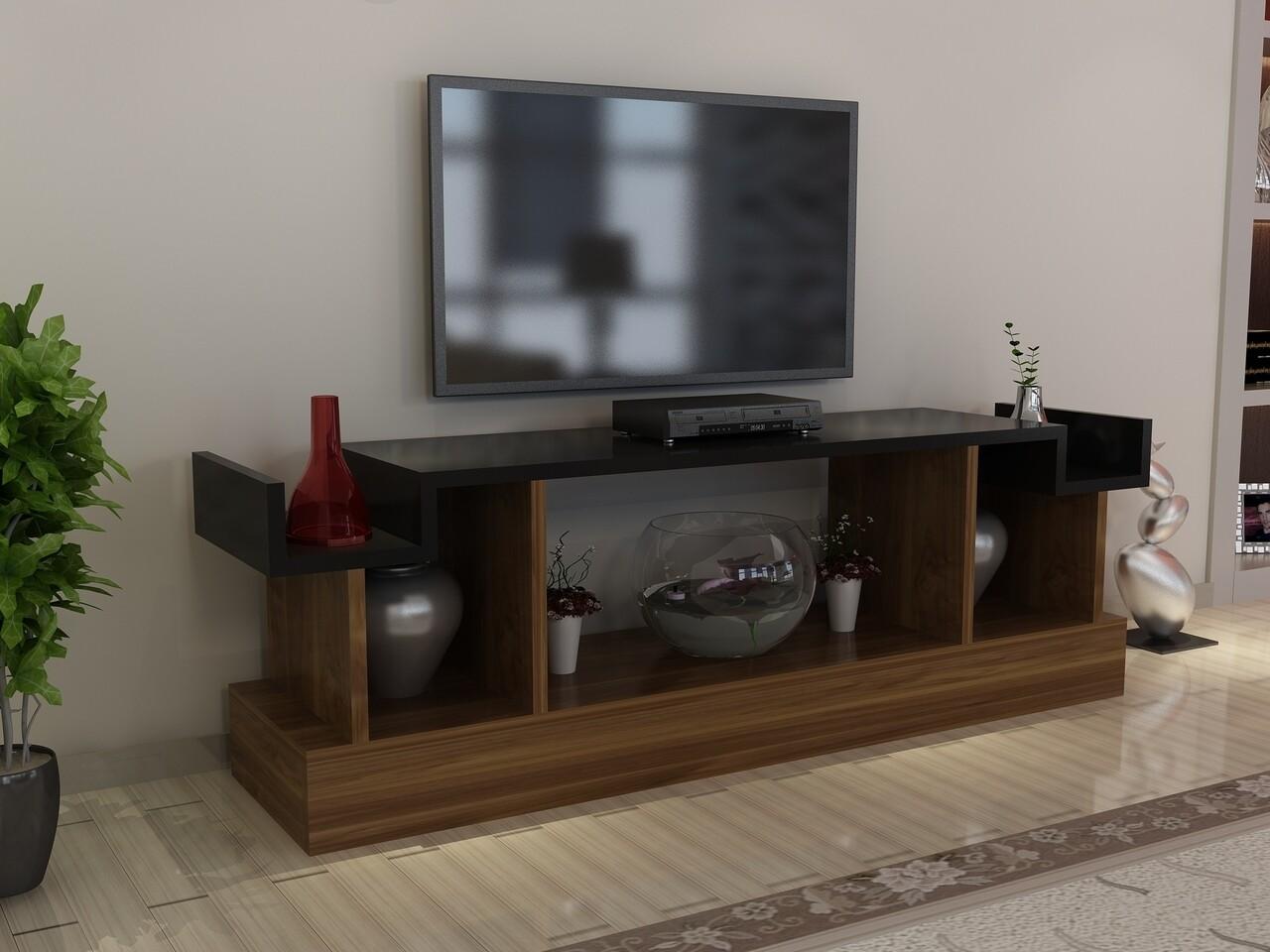 Comoda TV CAKIL, Gauge Concept, 127x30x48 cm, PAL, aluna/negru
