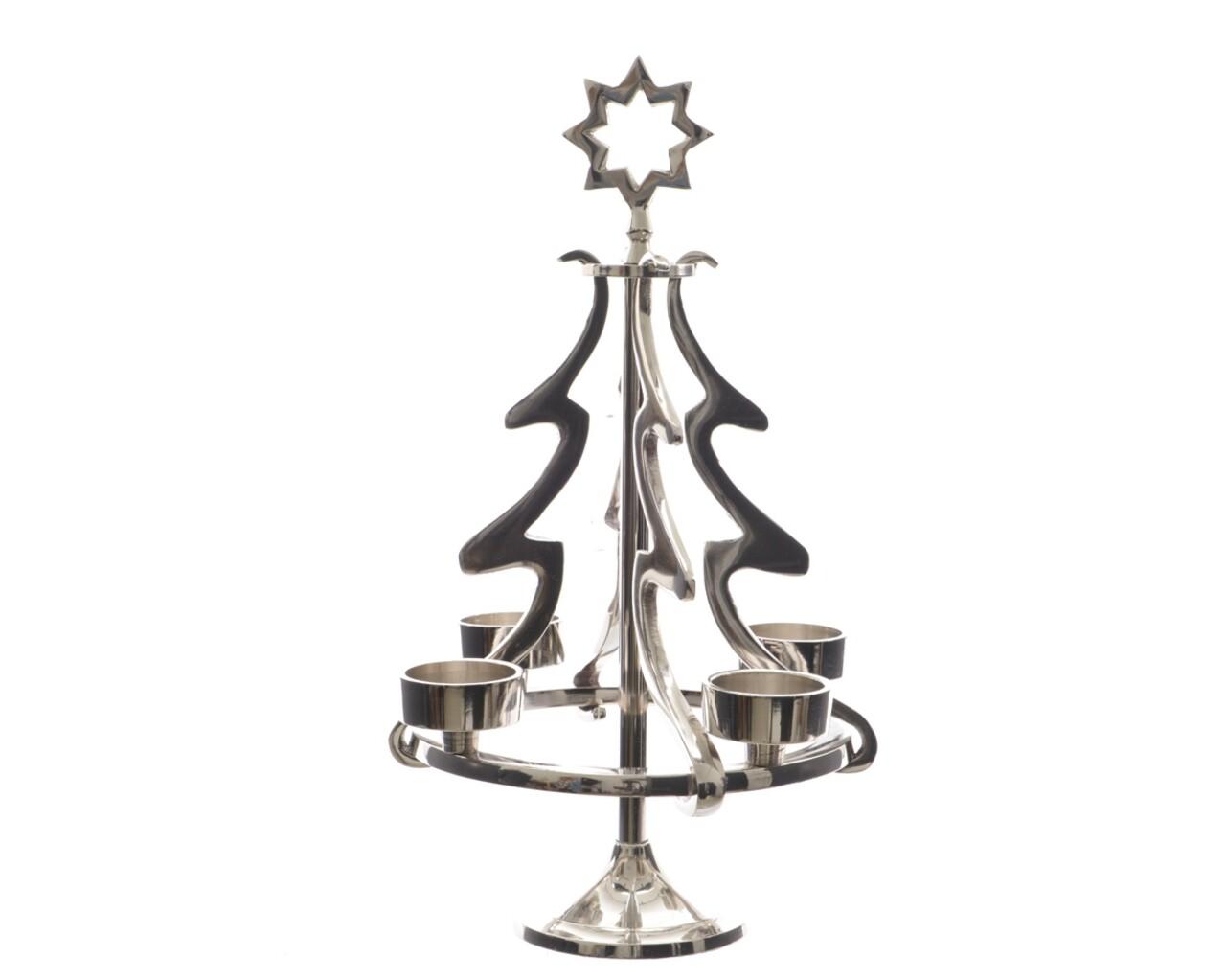 Suport pentru lumanari Tree, Decoris, 22 x 36 cm, aluminiu, argintiu
