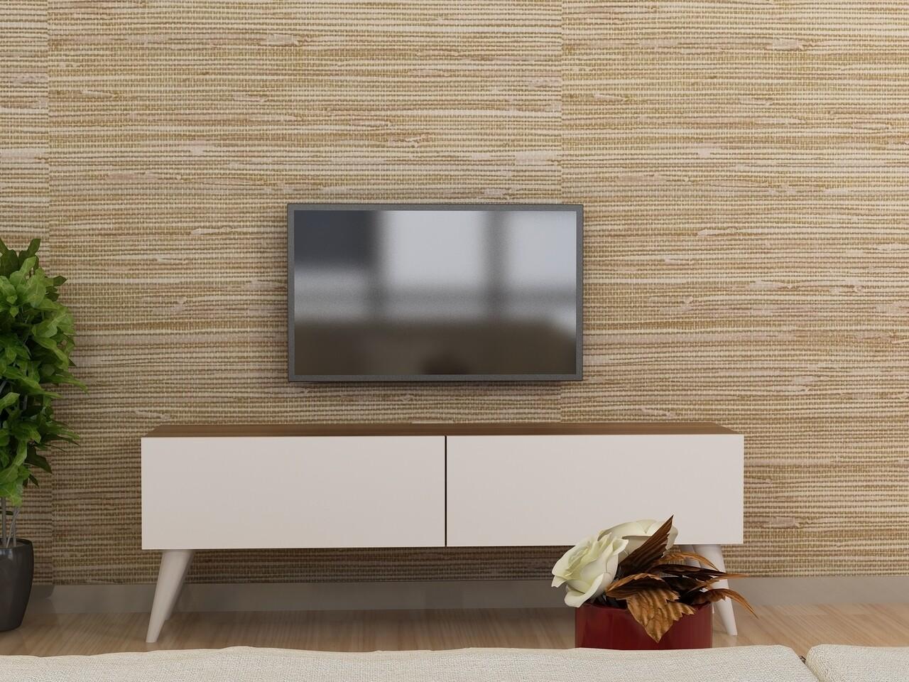 Comoda TV NOREL, Gauge Concept, 120x31x43 cm, PAL, alb/aluna