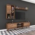 Comoda TV cu 2 rafturi de perete si cabinet M44 - 315, Wren, 180 x 35 x 48.6 cm/90 cm/133 cm, walnut