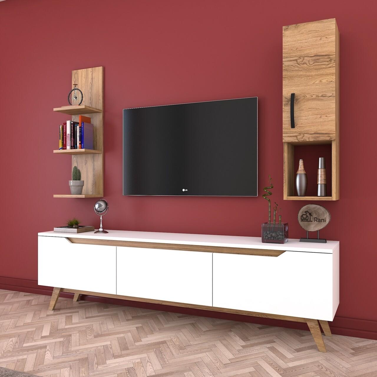 Comoda TV cu raft de perete si cabinet M3 - 381, Wren, 180 x 35 x 48.6 cm/90 cm, white/walnut