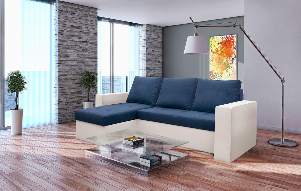 Coltar extensibil Toledo, 226x145x79 cm, 2 lazi depozitare, Reversibil, Alb/Albastru petrol