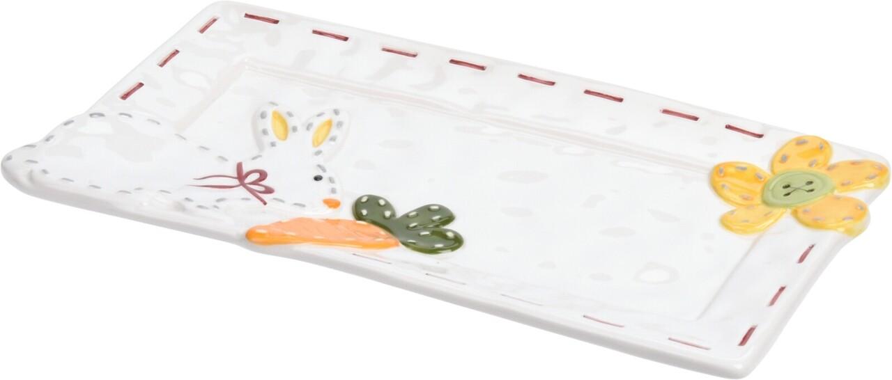 Platou pentru sevire Rabbit Dotted Line, 25x14 cm, dolomita, multicolor