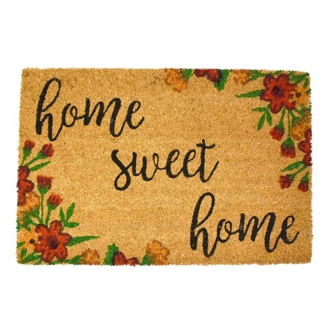 Covoras de intrare, Casa Plastor, Sweet Home, 40 x 60 cm, cauciuc/fibra nuca de cocos, multicolor