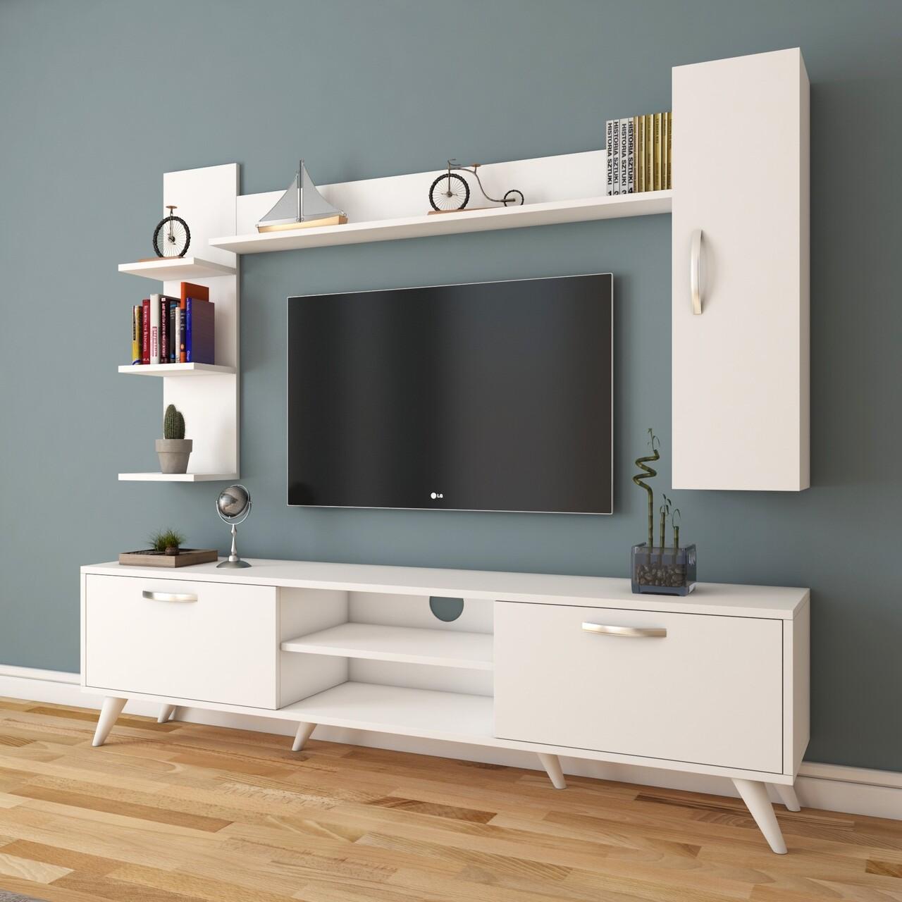 Comoda TV cu 2 rafturi de perete si cabinet M20 - 269, Wren, 180 x 35 x 48.6 cm/90 cm/133 cm, white