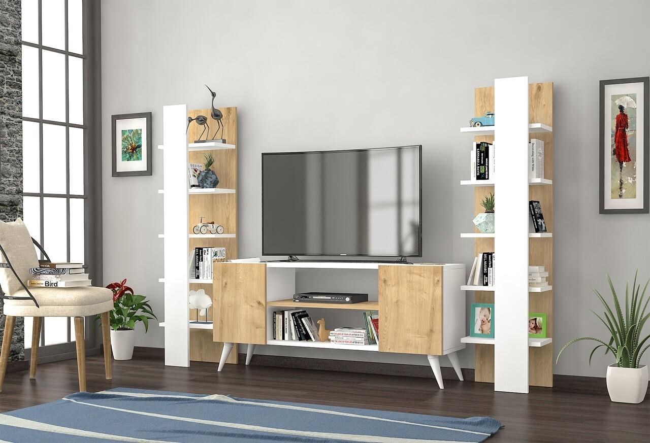 Mobilier living Raffline, 3 corpuri, 100x20x100 cm, PAL , alb/stejar